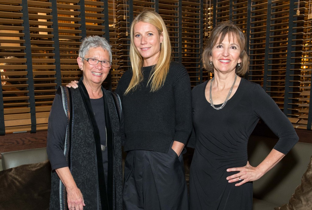 Breast Cancer Fund President Jeanne Rizzo, left, with Juice Beauty Creative Director Gwyneth Paltrow, makeup, middle, and Juice Beauty Founder Karen Behnke at an Earth Day event in San Francisco, 2015.